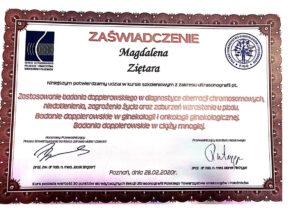 Ginekolog Magdalena Ziętara - dyplom usg dopler