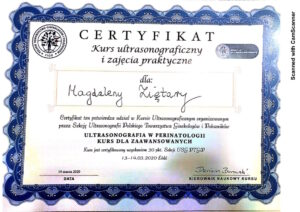 Ginekolog Magdalena Ziętara - dyplom uwg w perinatologii