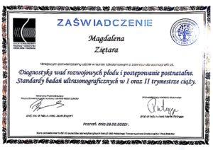 Ginekolog Magdalena Ziętara - dyplom usg wady płodu