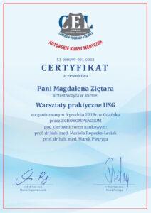 Ginekolog Magdalena Ziętara - dyplom usg warsztaty