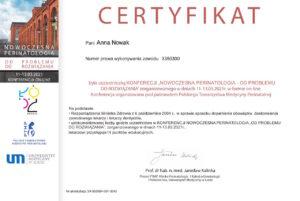 Anna Nowak - Certyfikat