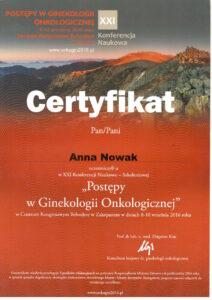Anna Nowak - Postępy w ginekologii onkologicznej