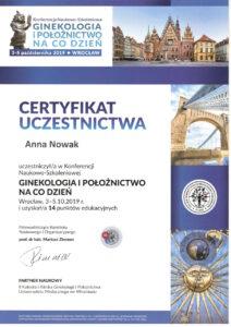 Anna Nowak - certyfikat uczestnictwa